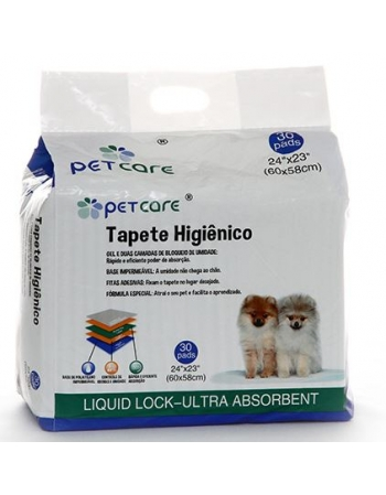 TAPETE HIGIENICO PETCARE 60X58CM - 30 UN
