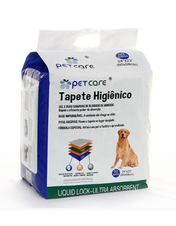 TAPETE HIGIENICO PETCARE 60X58CM - 50 UN